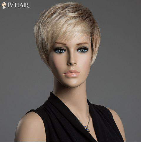 Shop Short Pixie Cut Human Hair Straight Mixed Color Capless Siv Hair Wig - COLORMIX  Mobile