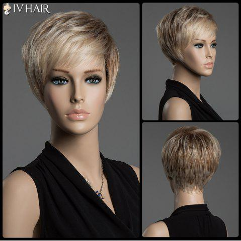 Trendy Short Pixie Cut Human Hair Straight Mixed Color Capless Siv Hair Wig - COLORMIX  Mobile