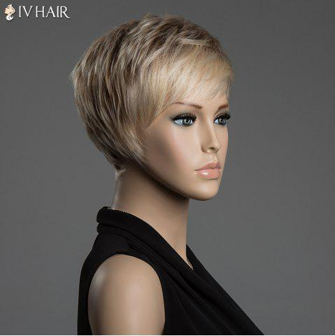 Fashion Short Pixie Cut Human Hair Straight Mixed Color Capless Siv Hair Wig - COLORMIX  Mobile