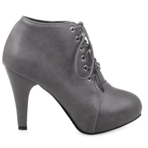 Buy Platform Tie PU Leather Ankle Boots - Gray 38
