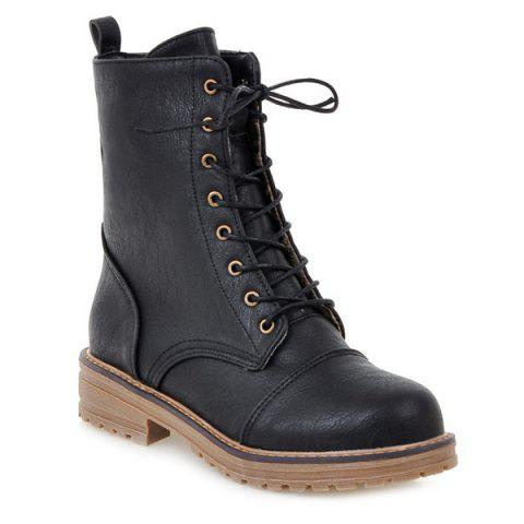 Buy Tie Up Platform PU Leather Boots - 42 BLACK Mobile
