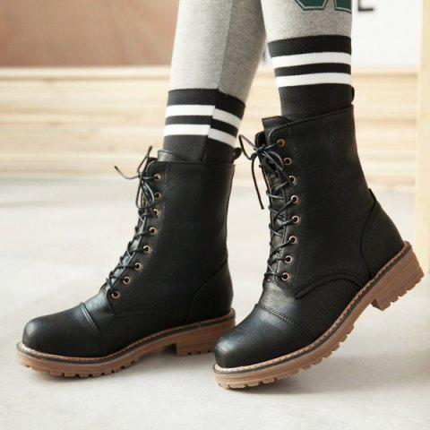 Outfit Tie Up Platform PU Leather Boots - 42 BLACK Mobile