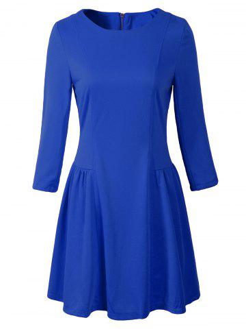 Outfit 3/4 Sleeve Zipper Design Ruched Dress