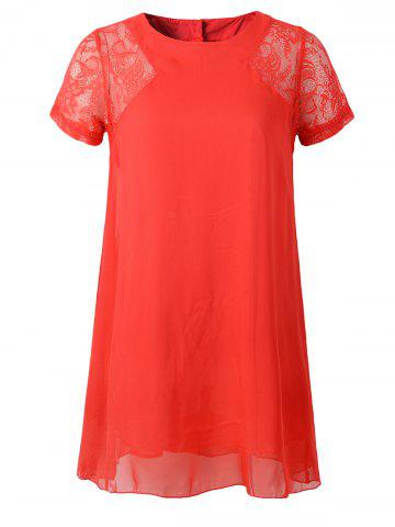Buy Lace Splicing Three Button Design Chiffon Dress