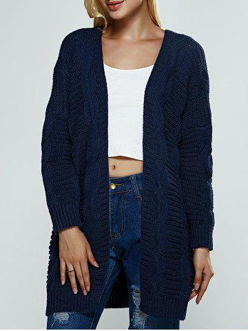 Trendy Collarless Loose-Fitting Textured Cardigan