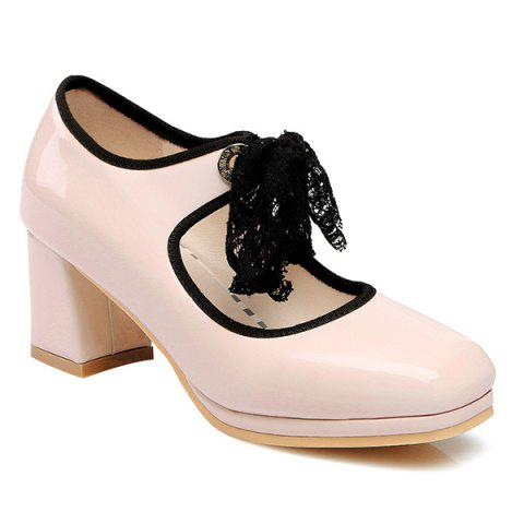 Tie Up Patent Leather Pumps - PINK 42