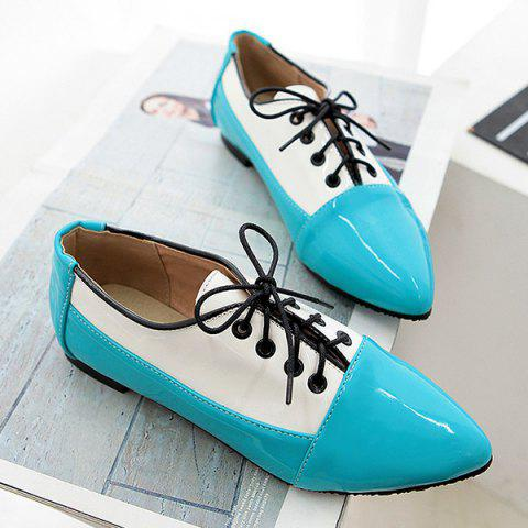 Chic Point Toe Color Block Flat Shoes - 41 BLUE Mobile