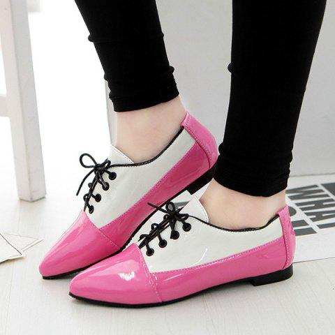 Trendy Point Toe Color Block Flat Shoes - 43 RED Mobile