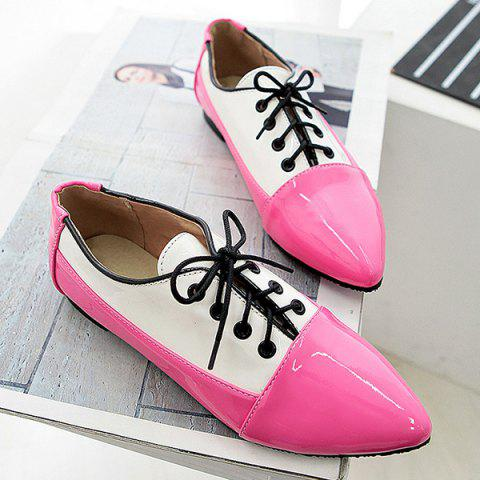 Online Point Toe Color Block Flat Shoes - 41 RED Mobile