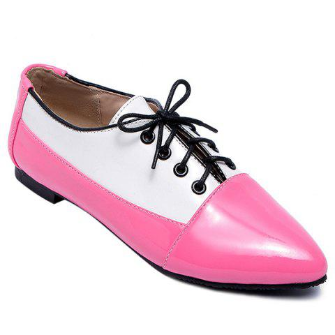 Trendy Point Toe Color Block Flat Shoes - 41 RED Mobile