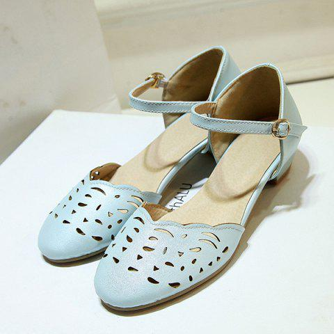 Shops Round Toe Hollow Out Flat Shoes - 43 BLUE Mobile