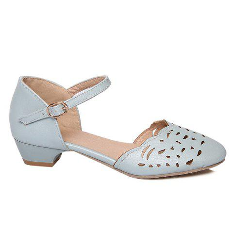 Discount Round Toe Hollow Out Flat Shoes - 37 BLUE Mobile