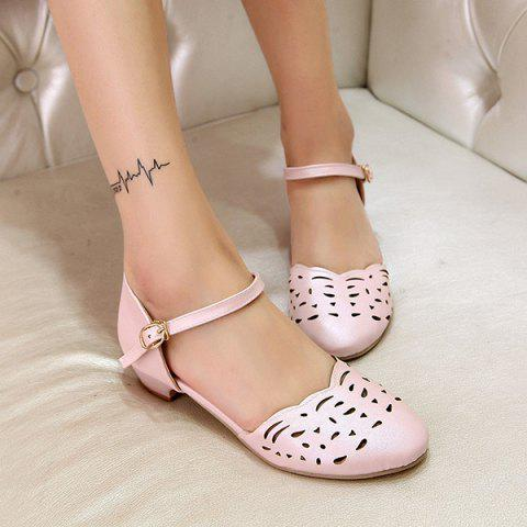 Chic Round Toe Hollow Out Flat Shoes - 42 PINK Mobile