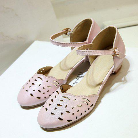 Discount Round Toe Hollow Out Flat Shoes - 42 PINK Mobile