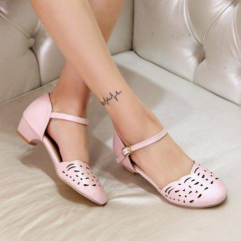 Outfit Round Toe Hollow Out Flat Shoes - 42 PINK Mobile