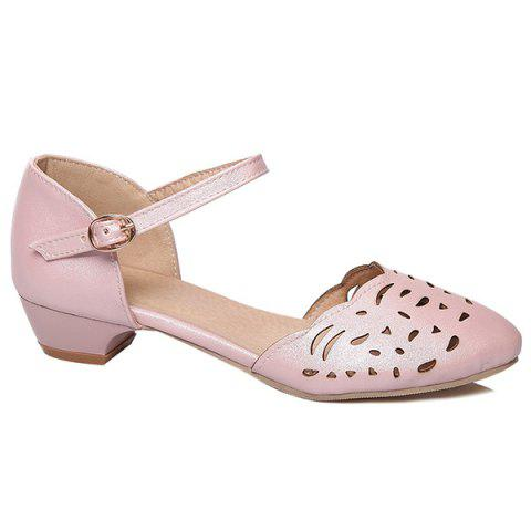 Chic Round Toe Hollow Out Flat Shoes - 40 PINK Mobile