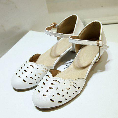 Hot Round Toe Hollow Out Flat Shoes - 37 WHITE Mobile