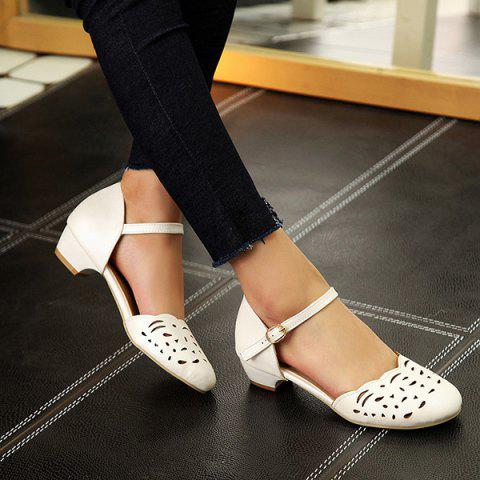 Buy Round Toe Hollow Out Flat Shoes - 37 WHITE Mobile