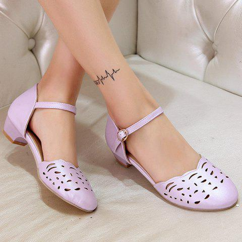 Shop Round Toe Hollow Out Flat Shoes - 40 PURPLE Mobile