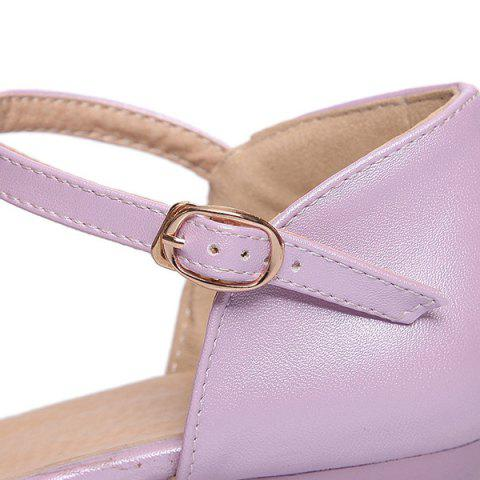 Sale Round Toe Hollow Out Flat Shoes - 37 PURPLE Mobile