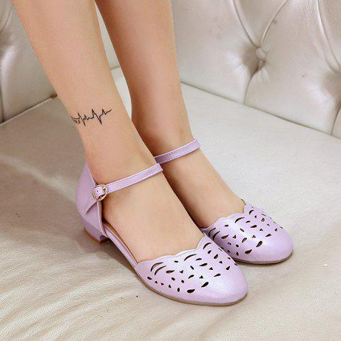 Shop Round Toe Hollow Out Flat Shoes - 37 PURPLE Mobile