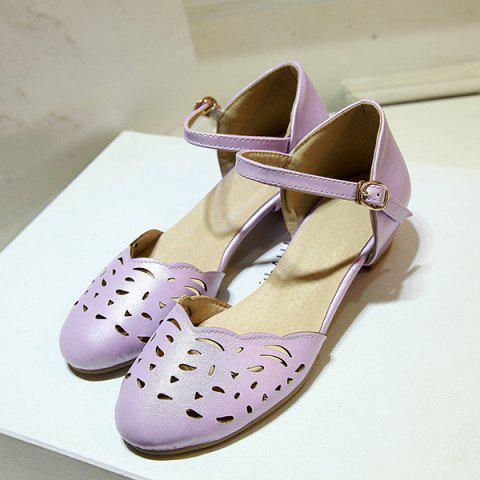 Fashion Round Toe Hollow Out Flat Shoes - 37 PURPLE Mobile