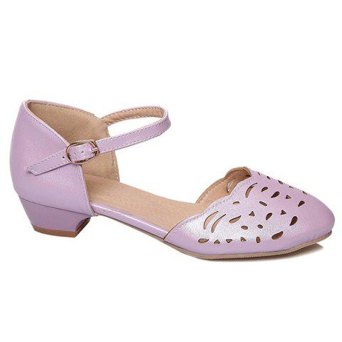 Store Round Toe Hollow Out Flat Shoes - 37 PURPLE Mobile