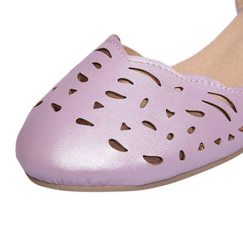 Cheap Round Toe Hollow Out Flat Shoes - 37 PURPLE Mobile