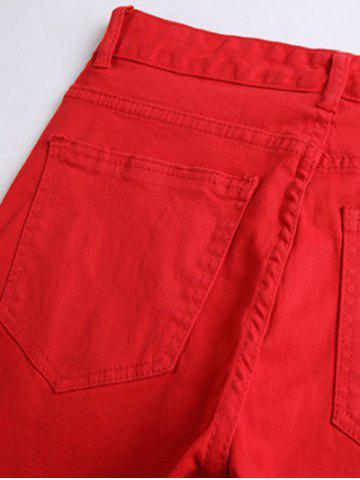 Outfits Five-Pocket Rivet Embellished Ripped Zip Knee Jeans - 34 RED Mobile