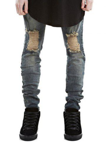 Discount Zipper Fly Frayed Skinny Ripped Jeans METALLIC 33