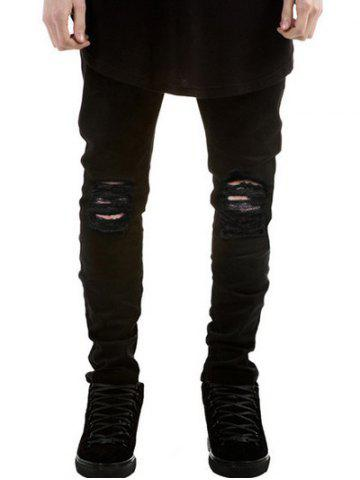 Fashion Zipper Fly Frayed Skinny Ripped Jeans BLACK 34