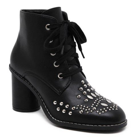 Online Stitch Rivet Chunky Heel Lace Up Ankle Boots BLACK 39