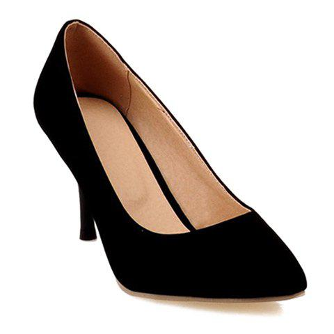Affordable Point Toe Suede Pumps - 38 BLACK Mobile