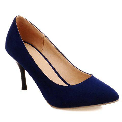 Trendy Point Toe Suede Pumps - 41 BLUE Mobile