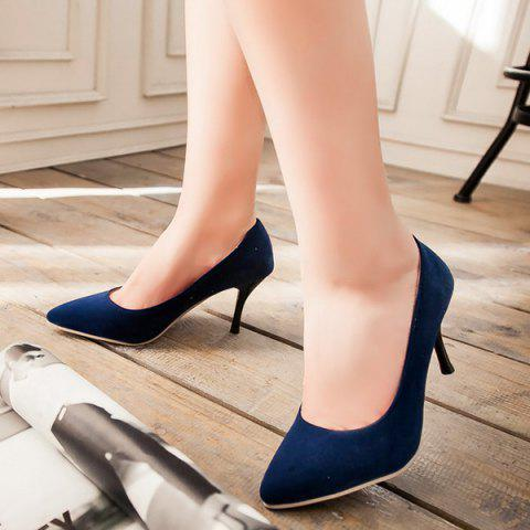 Chic Point Toe Suede Pumps - 39 BLUE Mobile
