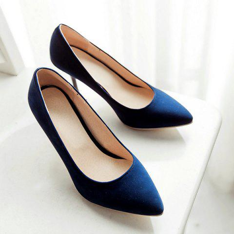 Affordable Point Toe Suede Pumps - 39 BLUE Mobile