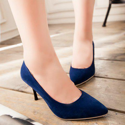 Latest Point Toe Suede Pumps - 39 BLUE Mobile