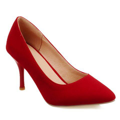 Store Point Toe Suede Pumps - 41 RED Mobile