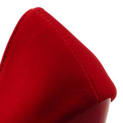 Cheap Point Toe Suede Pumps - 39 RED Mobile