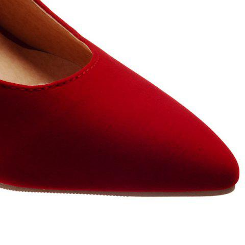 Fancy Point Toe Suede Pumps - 39 RED Mobile