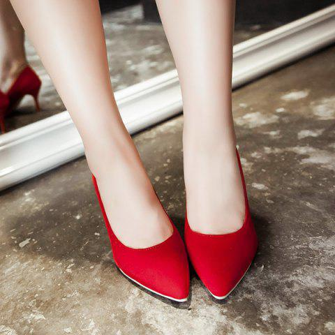 Online Point Toe Suede Pumps - 39 RED Mobile