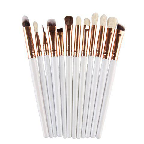 Cheap 12 Pcs Goat Hair Eye Makeup Brush Set WHITE