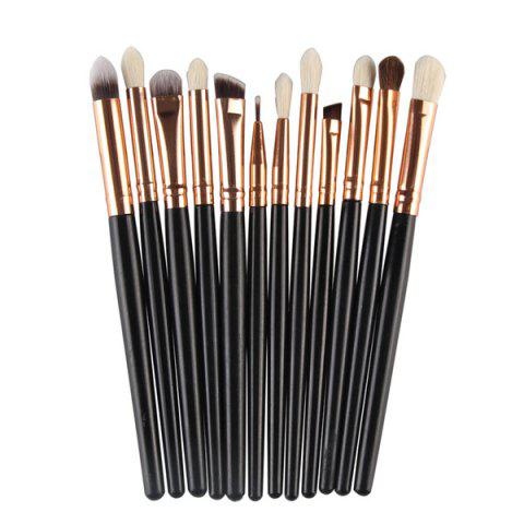 Chic 12 Pcs Goat Hair Eye Makeup Brush Set BLACK