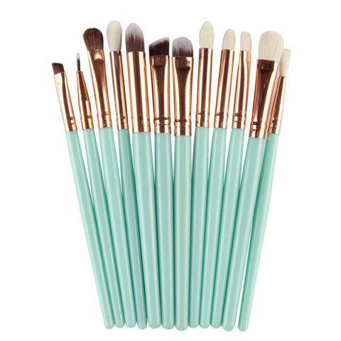 Store 12 Pcs Goat Hair Eye Makeup Brush Set GREEN