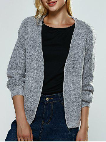 Fashion Heather Knitted Ribbed Cardigan