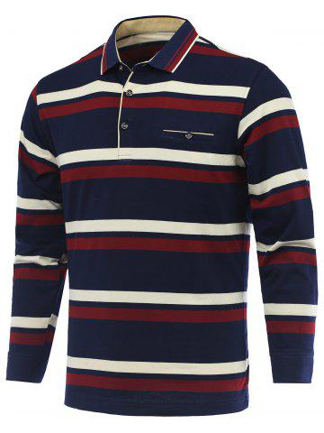 Discount Striped Long Sleeve Polo Shirt RED 3XL