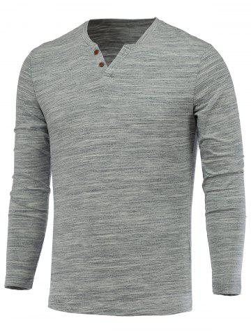 Outfits Buttons Embellished V-Neck Long Sleeve T-Shirt LIGHT GRAY 3XL