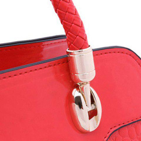 Outfit Weaving Tassels Embossing Tote Bag - RED  Mobile