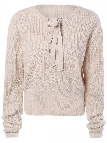 Hot Criss-Cross Short Sweater OFF WHITE ONE SIZE