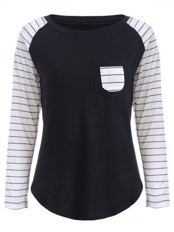 Best Preppy Color Block Stripe Scoop Neck Sweatshirt BLACK 2XL